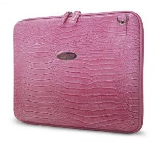 """14.1"""" Faux Croc Portfolio (Pink)"""