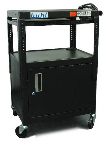 Height adjustable AV Media cart w/ Security Cabinet and Side Pull Out Shelf