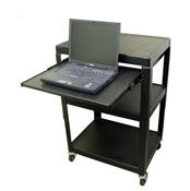 "Steel Cart Adjustable 26"" to 42"" with Pull Out Laptop Shelf and Electric"