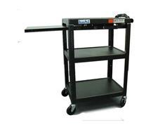 Height adjustable AV Media Cart - Three stationary shelves, One Pull-Out