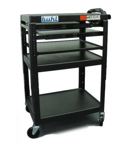 Height adjustable AV Media Cart - Three stationary Shelves, Two Pull-Out, Additional Laptop Shelf