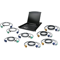 """Iogear 8-Port 19"""" LCD KVM Drawer Kit with PS/2 and USB KVM Cables"""