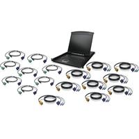 """Iogear 16-Port 19"""" LCD KVM Drawer Kit with USB KVM Cables"""