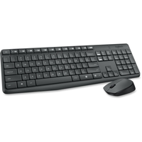 Logitech Keyboard & Mouse (Keyboard English Layout only) - USB Wireless RF English - Black - USB Wireless RF Optical - Scroll Wheel - QWERTY - Black - AAA, AA - Compatible with Desktop Computer (PC, Linux, Chrome OS)