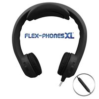 Flex-PhonesXL with in Line Mic- Indestructible, Single-Construction Headphones For Teens (Black)