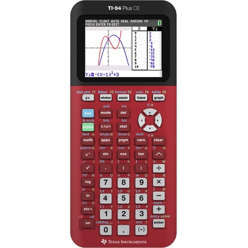 Texas Instruments TI-84 Plus CE Graphing Calculator - Slide-on Hard Case, Date/Time Display, Clock - 3 MB, 154 KB - ROM, RAM - 12 Digits - Radical Red