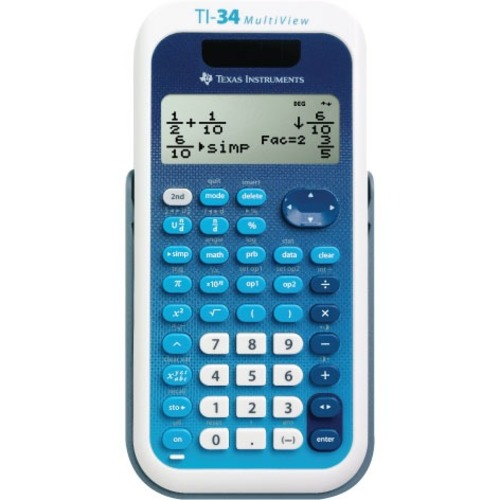 Texas Instruments TI-34 MultiView Scientific Calculator - BULK Packaging - Auto Power Off, Plastic Key, Non-skid Rubber Feet, Impact Resistant Cover, Dual Power - 4 Line(s) - 16 Digits - Battery/Solar Powered