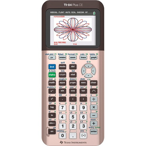 Texas Instruments TI-84 Plus CE Graphing Calculator - Clock, Date/Time Display, Impact Resistant Cover, Slide-on Hard Case - Battery Powered - Rose Gold