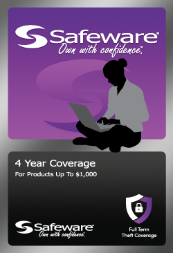 Safeware 4 Year Repair w/ Accidental Damage + 4 Years Theft Coverage for Products up to $1000 - Purple Card