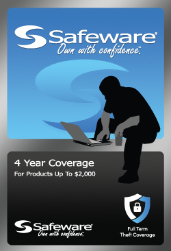 Safeware 4 Year Repair w/ Accidental Damage + 4 Years Theft Coverage for Products up to $2000 - Blue Card