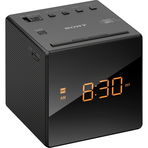 Sony ICF-C1BLACK Desktop Clock Radio - 100 mW RMS - Mono - 1 x Alarm - FM, AM - Battery Rechargeable - Manual Snooze