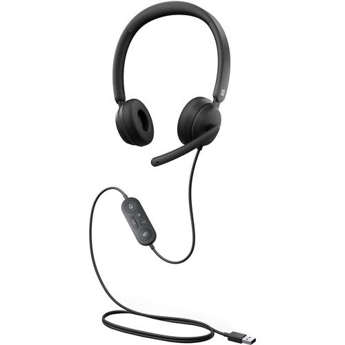 Microsoft Modern USB Headset - Stereo - USB - Wired - On-ear - Binaural - Noise Reduction Microphone - Black