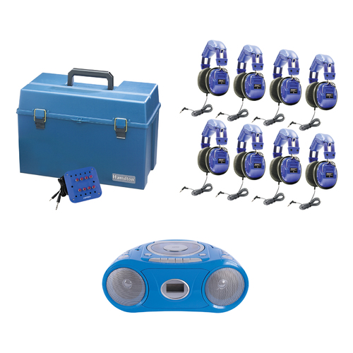 Kids 8 Person Listening Center With Bluetooth, CD/Cassette/FM Boombox and Deluxe Over-Ear Blue Kids Headphones