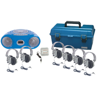 6 Person Listening Center with BluetoothCD/Cassette/FM Boombox and Deluxe Over-Ear Headphones