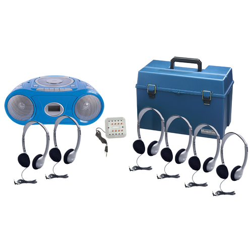 6 Person Listening Center with BluetoothCD/Cassette/FM Boombox and Personal On-Ear Headphones