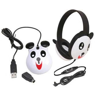 Children's Headset & Mouse Combo - Panda