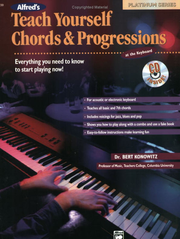 Teach Yourself Chords & Progressions at the Keyboard will have you playing great chords and progressions right from the beginning. You will learn how to build and organize all the traditional jazz chords into progressions in every key. As you progress, you will learn how to comp, create new bass rhythms and improvise from chord symbols using blues and ii V progressions. Also included are unique arrangements demonstrating how to play in the style of Meade Lux Lewis, Erroll Garner and Bill Evans.  FORMAT: Book & CD