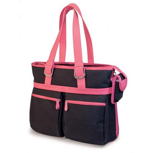 "16"" Komen Eco-Friendly Tote (Black with Pink Trim)"