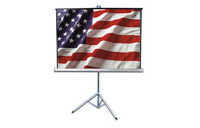 "80"" X 60"" Tripod Screen Black 4:3 Video W Keystone Eliminator"