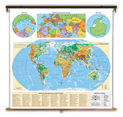 World Map 3d. World Physical (Roller Map)