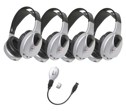 HIR-KT4 4-Person Infrared Stereo/Mono Headphones with Transmitter