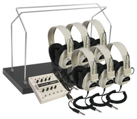 1216AVP-03  6-position Listening Center with Wire Rack