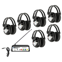 Wireless Listening Center, 6 Station with Headphones and Transmitter, Multi Frequency