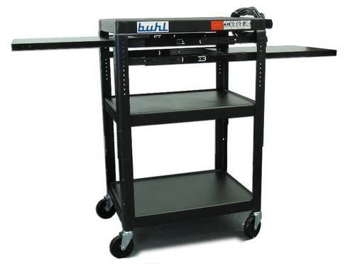Height adjustable AV Media Cart - Three stationary Shelves, Two Pull-Out