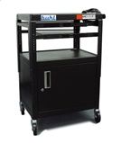 Height adjustable AV Media cart w/ Security Cabinet - Two Pull-Out Shelves