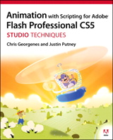 The definitive guide to creating animation for the web and mobile devices with top animation designer Chris Georgenes and designer/developer Justin Putney. They reveal how to create and successfully animate characters in Adobe Flash Professional CS5 and how to push the limits of timeline animation with stunning visual effects using ActionScript 3.0.  This Studio Techniques book is designed for intermediate or advanced users who understand the basics of Flash and want to create a more immersive interactive experience. The book includes coverage of storyboarding, 2D character design and rigging, character animation, visual FX with code, workflow automation, and publishing your animation on the web and to mobile devices.