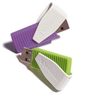 16GB Store n Go Swivel USB Flash Drive (2 Pack) (Green/Violet)
