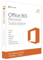 Office 365 Personal (1 PC/Mac/1 Tablet) (1 Year Subscription) (Product Key Card Only)