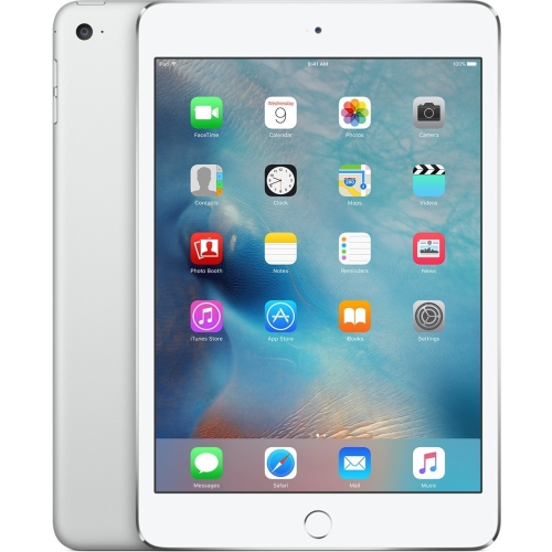 Apple iPad mini 4 128 GB Tablet - 7.9; 4:3 Multi-touch Screen - 2048 x 1536 - Retina Display - Apple A8 Dual-core (2 Core) 1.50 GHz - iOS 9 - 4G - GSM, CDMA2000 Cellular Network Supported - UMTS, HSPA, HSPA+, DC-HSDPA, EDGE, CDMA2000 1xEV-DO Rev A, CDMA2000 1xEV-DO Rev B, LTE - Silver - Wireless LAN - Bluetooth - Imagination Technologies PowerVR GX6450 Graphics - WWAN Supported - Lightning - Barometer, Ambient Light Sensor, Accelerometer, Gyro Sensor, Digital Compass - GPS - Front Camera/We