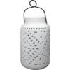 """11"""" Solar Wht Ceramic Lantern"""