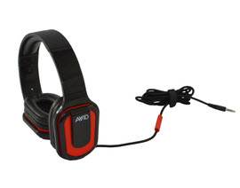 AE-66 Stereo Headphone, Inline MIC, Volume Control, Red