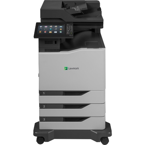 "Lexmark CX825dte Laser Multifunction Printer - Color - Plain Paper Print - Floor Standing - Copier/Fax/Printer/Scanner - 55 ppm Mono/55 ppm Color Print - 1200 x 1200 dpi Print - Automatic Duplex Print - 3 x Input Tray 550 Sheet, 1 x Multipurpose Tray 100 Sheet, 1 x Output Bin 300 Sheet - 10"" Touchscreen - 1200 dpi Optical Scan - 1750 sheets Input - Gigabit Ethernet - USB"