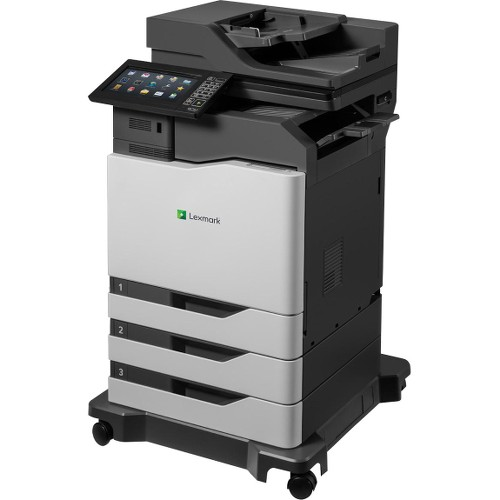 "Lexmark CX825dtfe Laser Multifunction Printer - Color - Plain Paper Print - Floor Standing - Copier/Fax/Printer/Scanner - 55 ppm Mono/55 ppm Color Print - 1200 x 1200 dpi Print - Automatic Duplex Print - 1 x Input Tray 550 Sheet, 1 x Multipurpose Tray 100 Sheet, 1 x Output Bin 300 Sheet - 10"" Touchscreen - 1200 dpi Optical Scan - 1750 sheets Input - Gigabit Ethernet - USB"