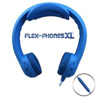 Flex-PhonesXL with in Line Mic- Indestructible, Single-Construction Headphones For Teens (Blue)