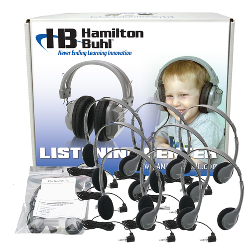 Lab Pack, 12 MS2LV Personal Headphones in a Laminated Cardboard Carry Case