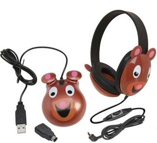 Children's Headset & Mouse Combo - Bear